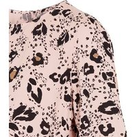 Maternity Pink Leopard Print Peplum Top New Look