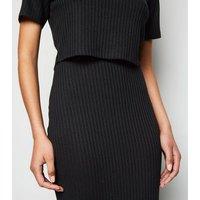 Black Ribbed Fine Knit Midi Skirt New Look