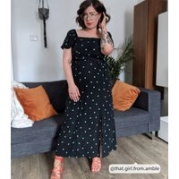Black Spot Square Neck Belted Midi Dress New Look