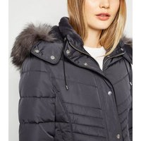 Dark Grey Faux Fur Hood Fitted Puffer Jacket New Look