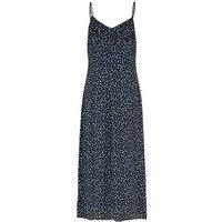 Blue Abstract Spot Midi Slip Dress New Look