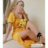Mustard Square Neck Belted Midi Dress New Look