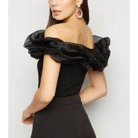 Black Organza Puff Trim Bardot Bodysuit New Look