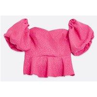 Petite Bright Pink Animal Jacquard Puff Sleeve Bardot Top New Look