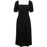 Petite Black Spot Square Neck Belted Midi Dress New Look