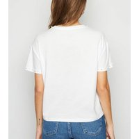 White Faux Pearl Trim T-Shirt New Look