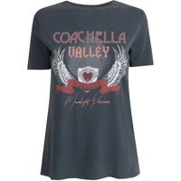 Petite Black Acid Wash Rock T-Shirt New Look