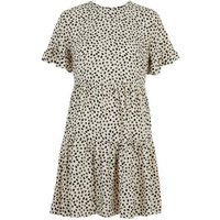 Petite White Spot Tiered Smock Dress New Look