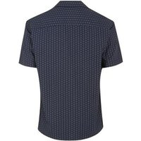 Men's Jack & Jones Navy Printed Piped Collared Shirt New Look