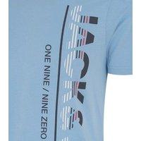 Jack & Jones Pale Blue Stripe Logo T-Shirt New Look