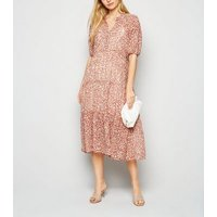 Pink Ditsy Floral Puff Sleeve Smock Midi Dress New Look