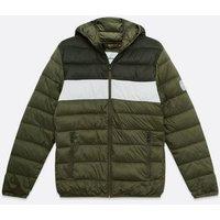 Jack & Jones Black Colour Block Hooded Puffer Jacket New Look