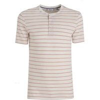 Men's Only & Sons Grey Stripe Button Up T-Shirt New Look