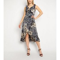 Gini London Blue Animal Print Ruffle Dress New Look