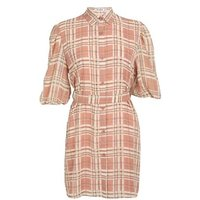 Gini London Red Check Puff Sleeve Shirt Dress New Look