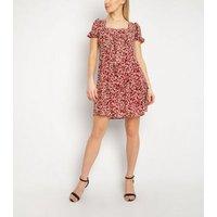 Gini London Rust Spot Square Neck Dress New Look