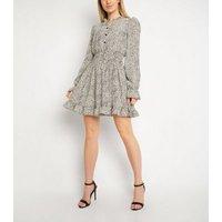 Gini London White Animal Print Puff Sleeve Dress New Look