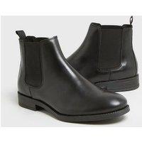 Men's Dark Grey Leather Chelsea Boots New Look