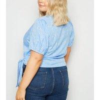 Wednesdays Girl Curves Blue Daisy Wrap Blouse New Look
