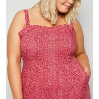 Wednesday's Girl Curves Red Ditsy Floral Cropped Jumpsuit New Look
