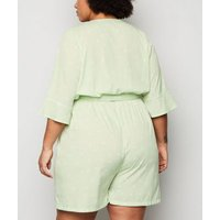 Wednesday Girl Green Spot Wrap Playsuit New Look