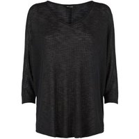 Black Ribbed Fine Knit Batwing Jumper New Look