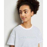 Girls White Stripe Positive Slogan T-Shirt New Look
