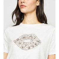 White Floral Lips Print T-Shirt New Look