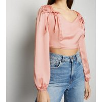 Cameo Rose Pale Pink Satin Crop Top New Look