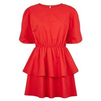 Influence Red Puff Sleeve Tiered Dress New Look