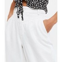 Petite White Slouch Nia Balloon Jeans New Look
