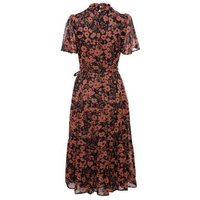 Black Floral High Neck Tiered Midi Dress New Look