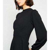 Missfiga-Black-Puff-Sleeve-Midi-Skater-Dress-New-Look