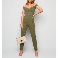 Missfiga Khaki Bardot Jumpsuit New Look