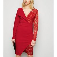 Miss Figa Red Asymmetric Lace Wrap Dress New Look