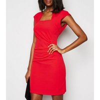 Missfiga Red Cap Sleeve Ruched Bodycon Dress New Look