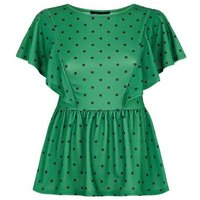 Green Spot Print Frill Trim Peplum Top New Look