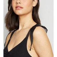 Black Organza Strap Ribbed Bodysuit New Look
