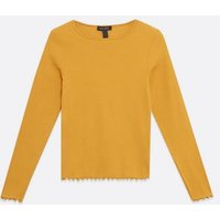 Mustard Ribbed Frill Trim Top New Look