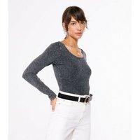 Grey Acid Wash Long Sleeve Scoop Bodysuit New Look