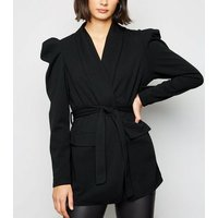 Cameo Rose Black Puff Sleeve Belted Blazer New Look