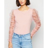 Cameo Rose Pale Pink Spot Mesh Puff Sleeve Top New Look