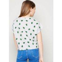 Girls White Turtle Print Raw Hem T-Shirt New Look