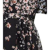 Maternity Black Floral Frill Dress New Look