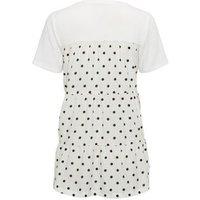 White Polka Dot Back Fine Knit Top New Look