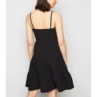 Tall Black Crinkle Smock Dress New Look
