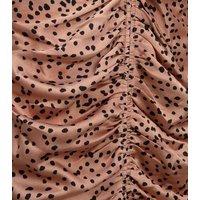 Brown Spot Ruched Satin Midi Slip Dress New Look