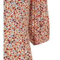 Red Ditsy Floral Puff Sleeve Mini Dress New Look
