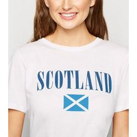 White Scotland Flag Rugby Slogan T-Shirt New Look
