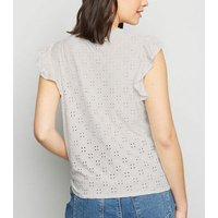 Off White Broderie Tie Front Top New Look